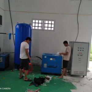 Lắp bộ máy nén khí, máy sấy khí, bình tích khí Pegasus cho xưởng Dệt